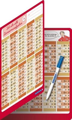 Ich übe alle Divisionsaufgaben - Doppelklappkarte mit Stift