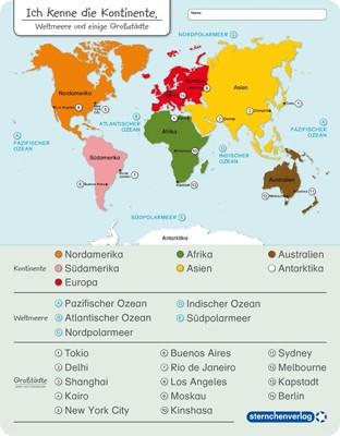 Ich kenne die Kontinente – Weltmeere und einige Großstädte - ohne Stift