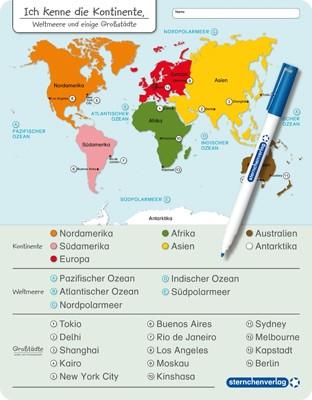 Ich kenne die Kontinente – Weltmeere und einige Großstädte - mit Stift