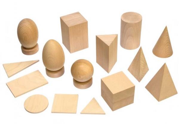 Geometrische Körper und Grundtäfelchen, Holz natur